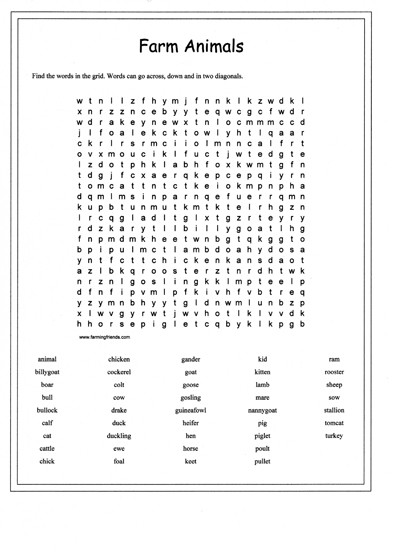 A Farm Animals Wordsearch